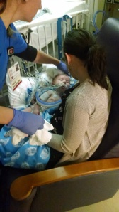 Holding Lincoln at Riley PICU for the first time
