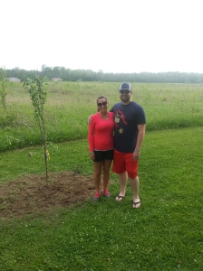 Mommy and Daddy with Lincoln's Memory Tree