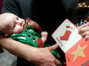 Daddy reading to Linky