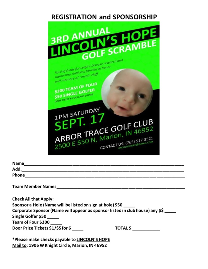 Lincoln's Hope Scramble REGISTRATION and SPONSORSHIP form 2016
